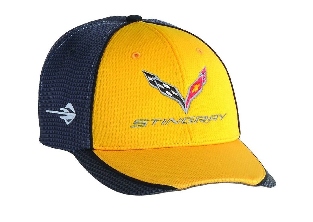 Chevrolet Corvette C7 Carbon Fiber Look Baseball Hat (Yellow) by Chevrolet