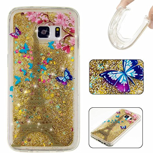 KSHOP Samsung Galaxy S7 Edge Case,Generation Case Liquid Glitter Case Bling Floting Quicksand Full of Lover Stars Soft TPU Silicone Ultra Thin Lightweight Rubber SmartPhone Protective Back Cover -Golden