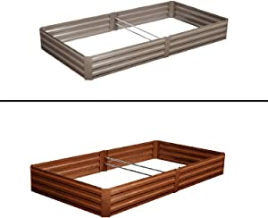 Leisurelife Metal Raised Garden Bed Planter Box Kits for Vegetables Outdoor, Gray, Steel, 8x4 ft, Brown