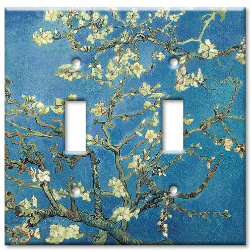 Double Gang Toggle Wall Plate - Van Gogh: Almond Blossoms (Design Double Switchplate)