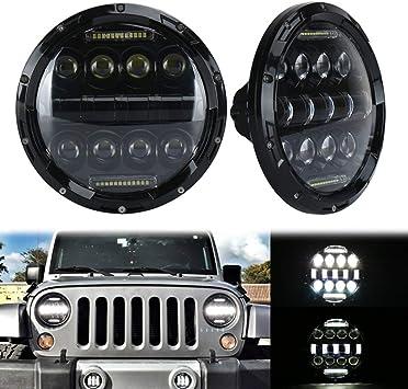 TURBOSII DOT Approved Pair 75W 7Inch Round LED Headlights with White DRL Hi//Lo Beam For Jeep Wrangler CJ-5 CJ-7 1997-2017 TJ LJ JK JKU Rubicon Sahara Hummer H1 H2 Toyota Land Cruiser Dodge Dakota
