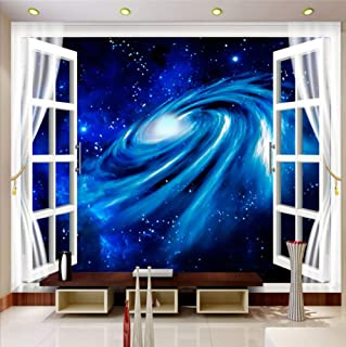 Mural Wallpaper Wall 3D Stereo Window Scenery Starry Galaxy Large Murales Rivestimento murale Panno di seta (W)400x(H)280cm