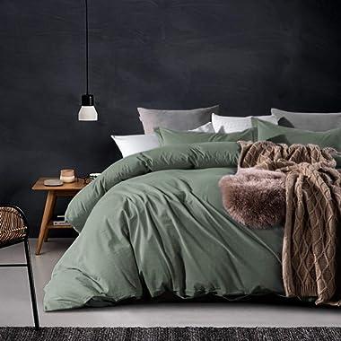 ECRISDOO Comforter Set, Washed Cotton Duvet Cover, Natural Solid Color Slight Wrinkle Design, Breathable Bedding Set, 3 Pieces Bed Cover & Pillow Shams (Green, King)