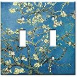 double gang toggle wall plate van gogh almond blossoms