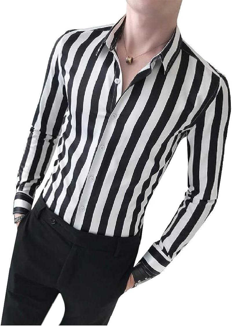 DressU Mens Premium Stripes Printed Skinny Plus Size Tshirt Shirt
