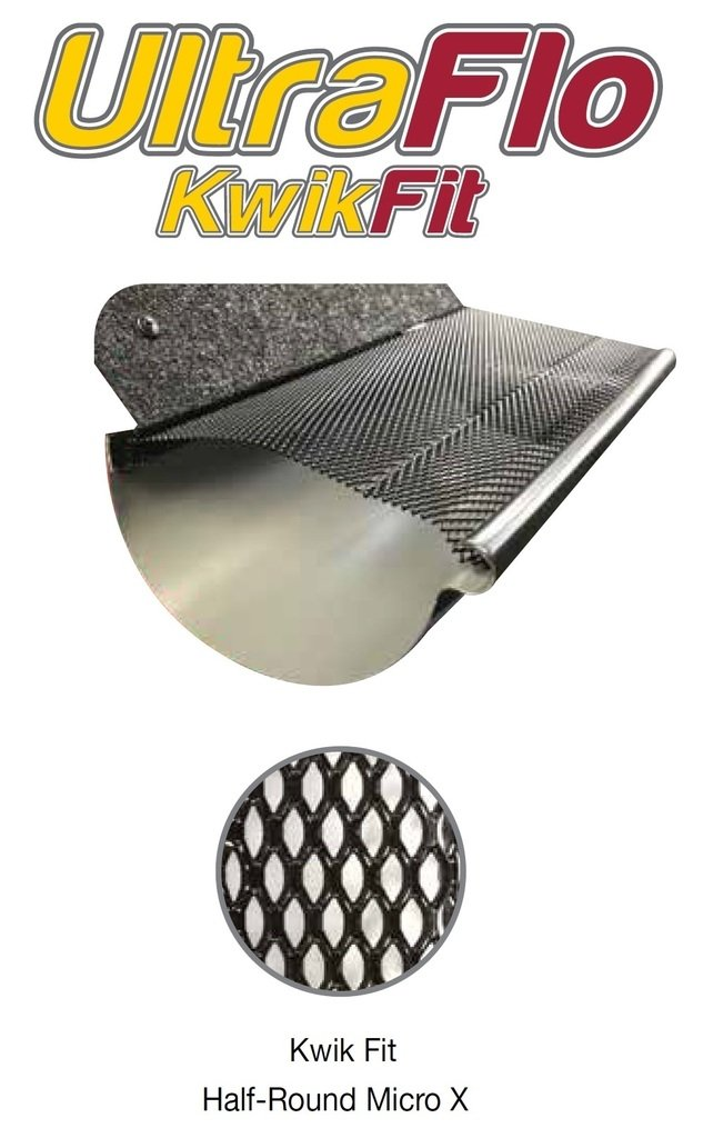 (100 feet) Ultra Flo Kwik Fit Leaf Guard Gutter Screens for 6'' Half-Round Gutters. Micro X Micromesh. 25 panels x 4.00' each.