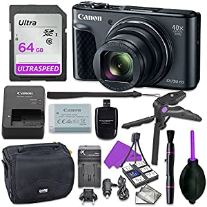 Canon Powershot SX730 Point & Shoot Digital Camera Bundle w/ Tripod Hand Grip , 64GB SD Memory , Case and More by Canon