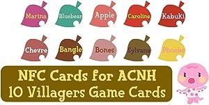NFC Tag Game Cards for ACNH Switch/Switch Lite/Wii U - Marina, Bluebear, Apple, Caroline, Kabuki, Chevre, Bangle, Bones, Sylvana and Phoebe