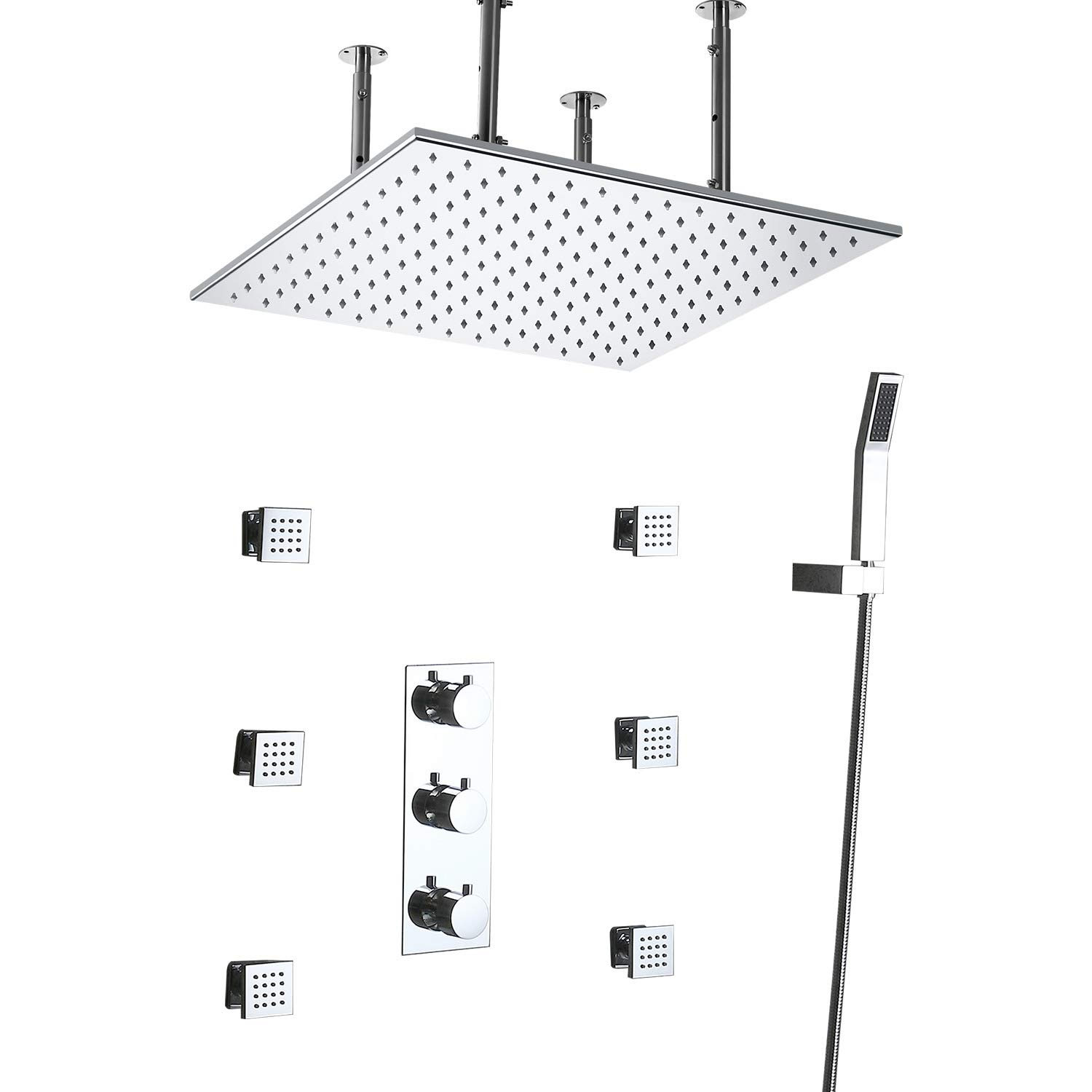 JiaYouJia Thermostatic LED 20'' Rainfall Shower System Ceiling Mounted with Handheld Shower & 6 Body Sprays in Polished Chrome