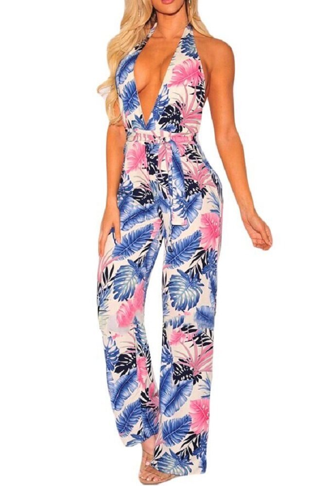Love Needs Women Straps Tropical Blue Palm Print Halter Belted Open Back Jumpsuit L
