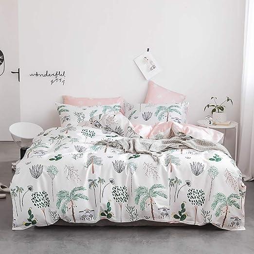 Impresión de hoja de palmera verde botánico duvet cover set-King Ropa De Cama