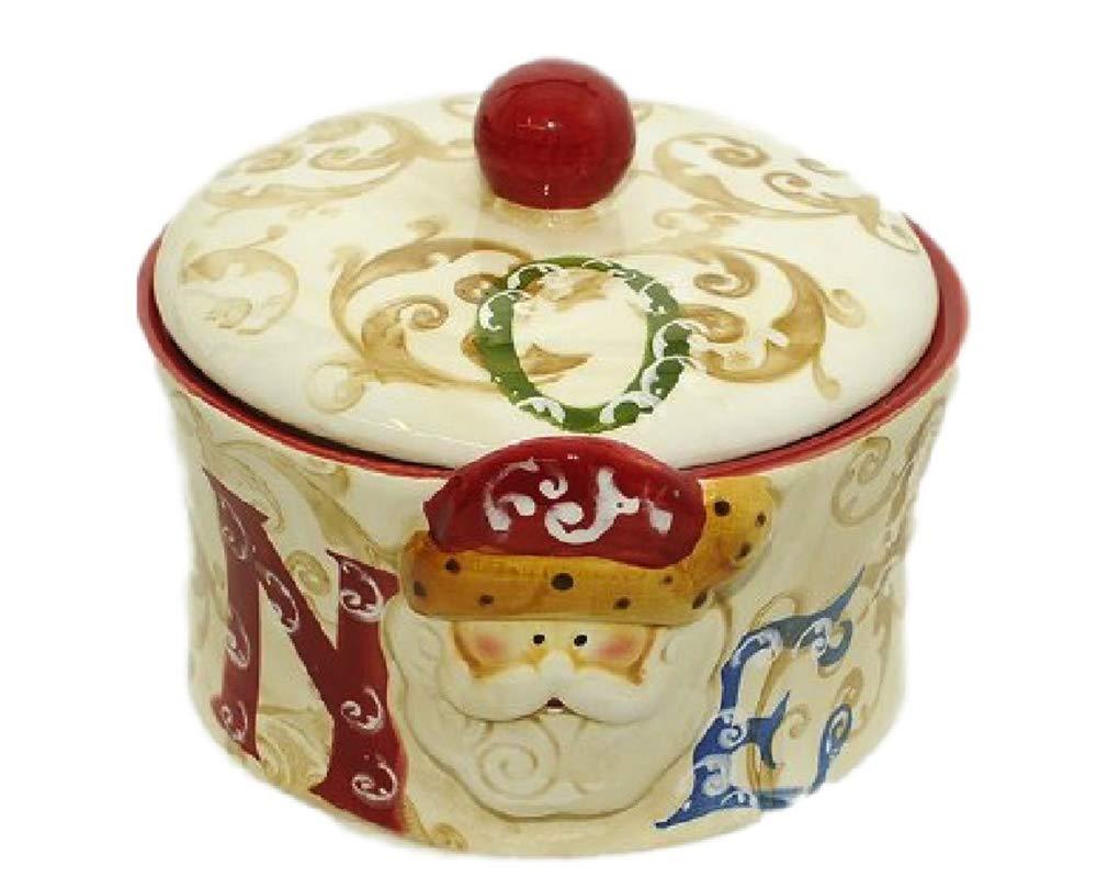 takestop/® Tris di BARATTOLI 3 Barattolo Vetro con Coperchio Cuore Bianco Ceramica Guarnizione Sale Zucchero Caffe Dolci Biscotti