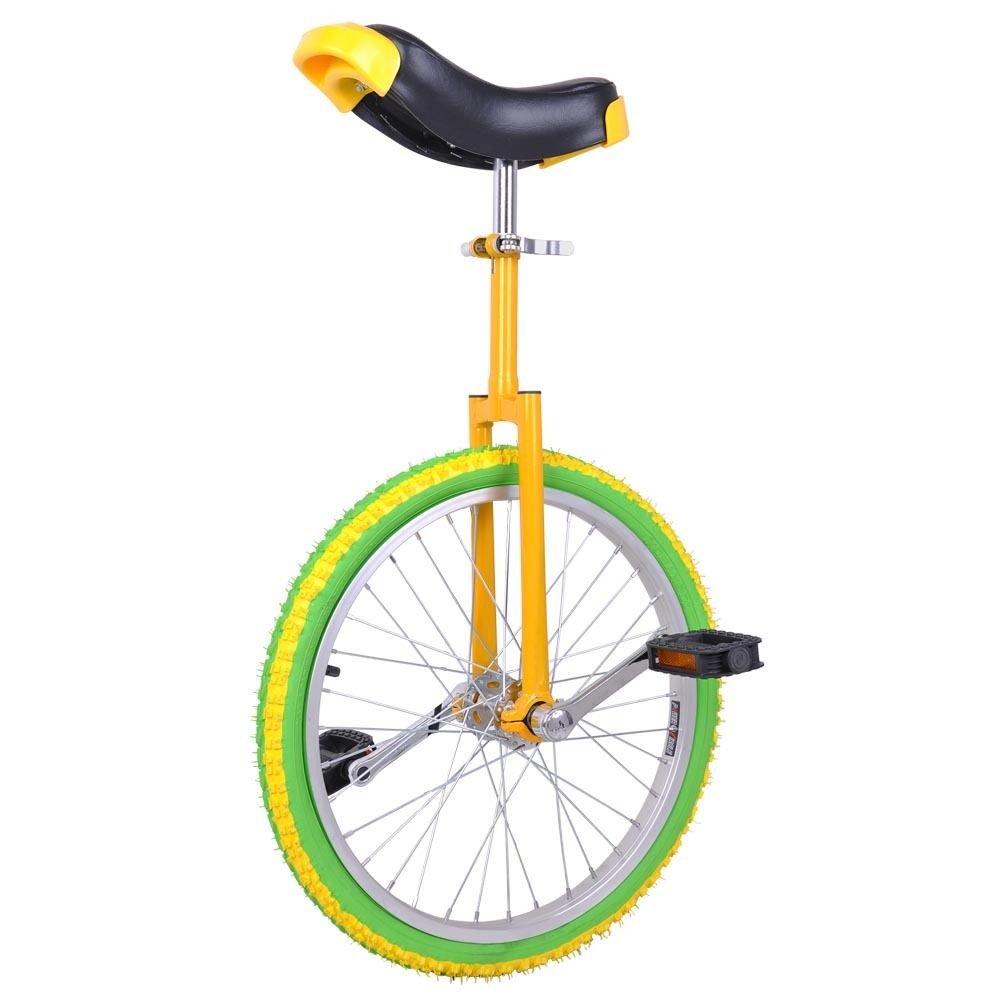 GHP Yellow & Green Manganese Steel 20'' Wheel Skid-Proof Tire Aluminum Rim Unicycle