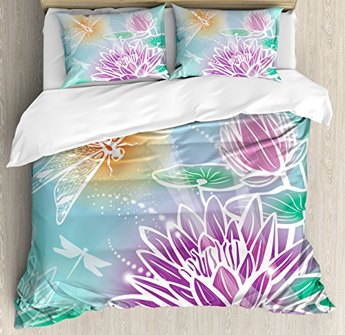 Dragonfly King (Dragonfly Duvet Cover Set King Size by Ambesonne, Silhouette Textured Macro Asian Sacred Lotus Petals with Aquatic Elements Theme, Decorative 3 Piece Bedding Set with 2 Pillow Shams, Purple Teal)