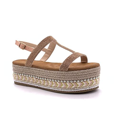 Angkorly - Zapatillas Moda Sandalias Alpargatas Plataforma Folk/Etnico comode Mujer Strass Perla con Paja Plataforma 6 CM: Amazon.es: Zapatos y complementos