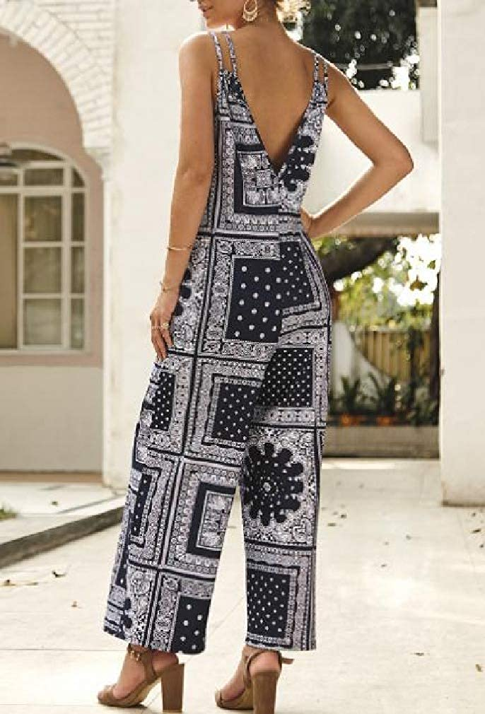 Abetteric Womens Hi-Waist Floral Print Boho Loose Jumpsuit Trousers