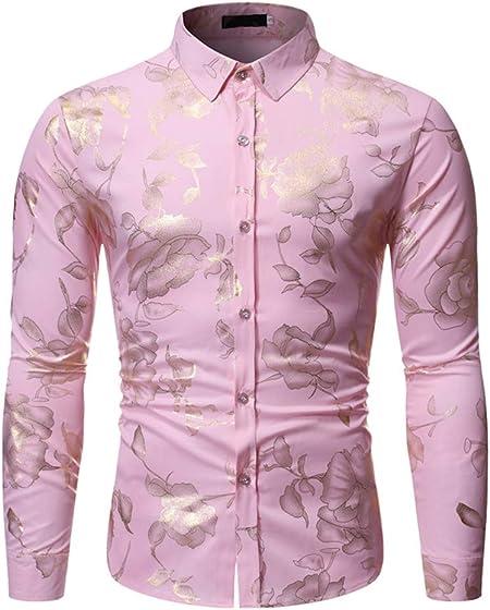 LISILI Camisa De Manga Larga para Hombre Club Nocturno Brillante Dorado Rosa 3D Impreso Ajustado Abotonar Partido Camisa De Vestir,Rosado,M: Amazon.es: Hogar