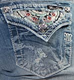 Miss Me 6 Inch Denim Short with Embroidered Back Yoke and Pocket, Light Blue, 25