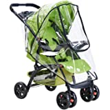 Universal Stroller Rain Cover with Zip Front Opening PVC Transparent Waterproof Wind Rain Weather Shield Protector for…