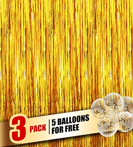 Happy Time Tinsel Foil Fringe Curtains - 3.2 ft x 9.8ft Metallic foil Fringe Backdrop for Birthday Wedding Party Christmas Photo Backdrop Decorations 3500+ Instagram Like(Gold,3 Pack)