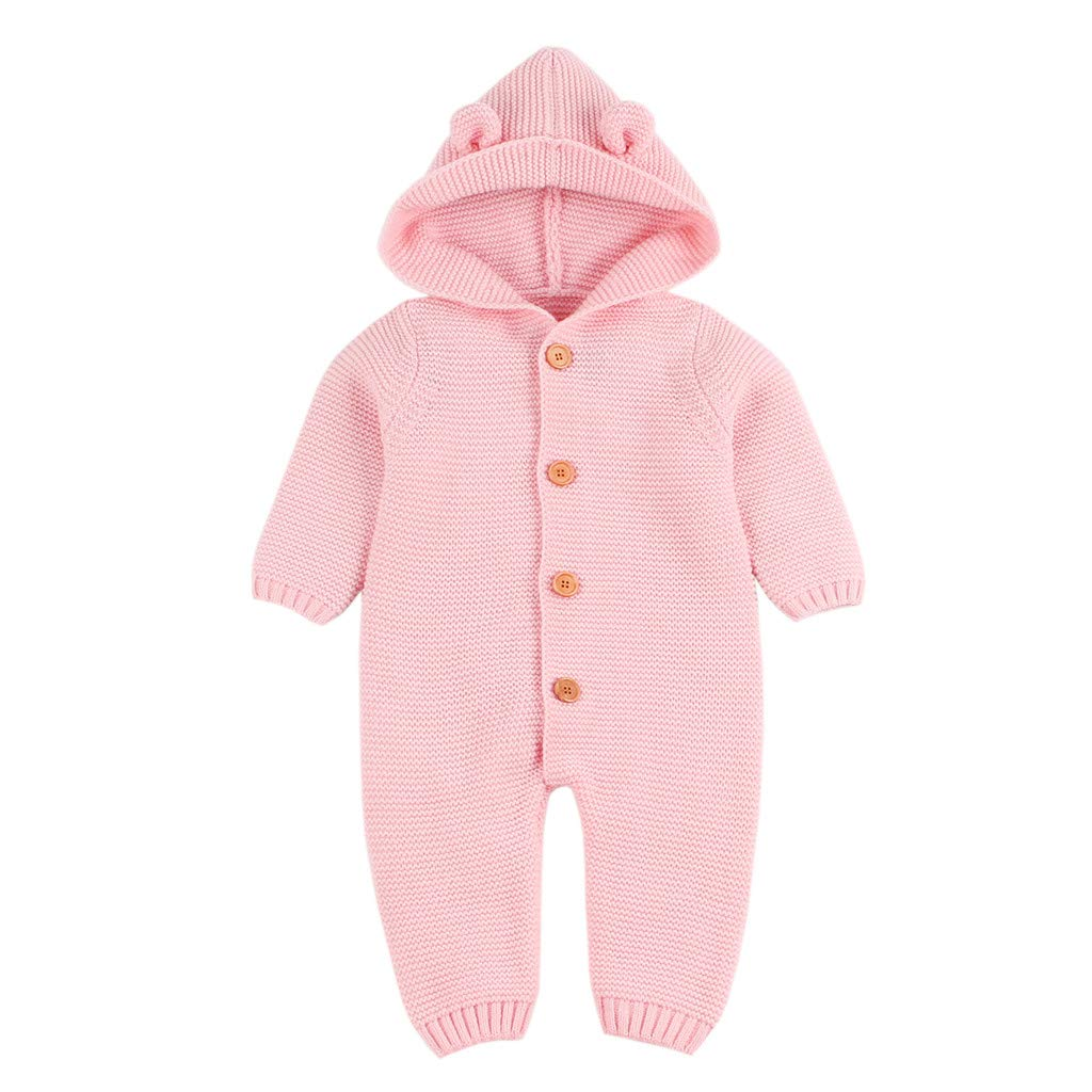 Gonxifacai Newborn Infant Baby Boy Girl Knitted Hooded Winter Romper Jumpsuit Outfits Clothes(Pink,0-6 Months)