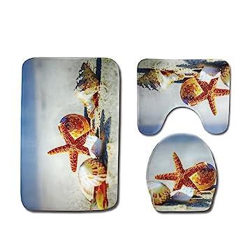 Ounona 3 Teiliges Badezimmer Teppich Set Nautical Strand Seashell