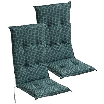 vidaXL Cojín para sillas de jardín 2 Unidades 117x49 cm Azul