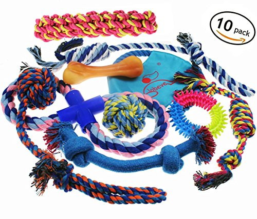 Lobeve Dog Toys Gift Set,Variety Puppy Chew Teething Rope Toys Set for Medium to Small Doggie