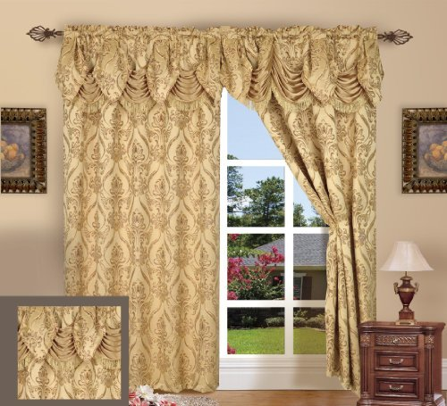 Elegance Linen® Beautiful Design Jacquard Look Curtain Panels 54