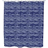 Uneekee Waves And Twirls Shower Curtain: Large Waterproof Luxurious Bathroom Design Woven Fabric