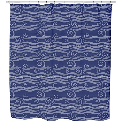 Uneekee Waves And Twirls Shower Curtain: Large Waterproof Luxurious Bathroom Design Woven Fabric by uneekee
