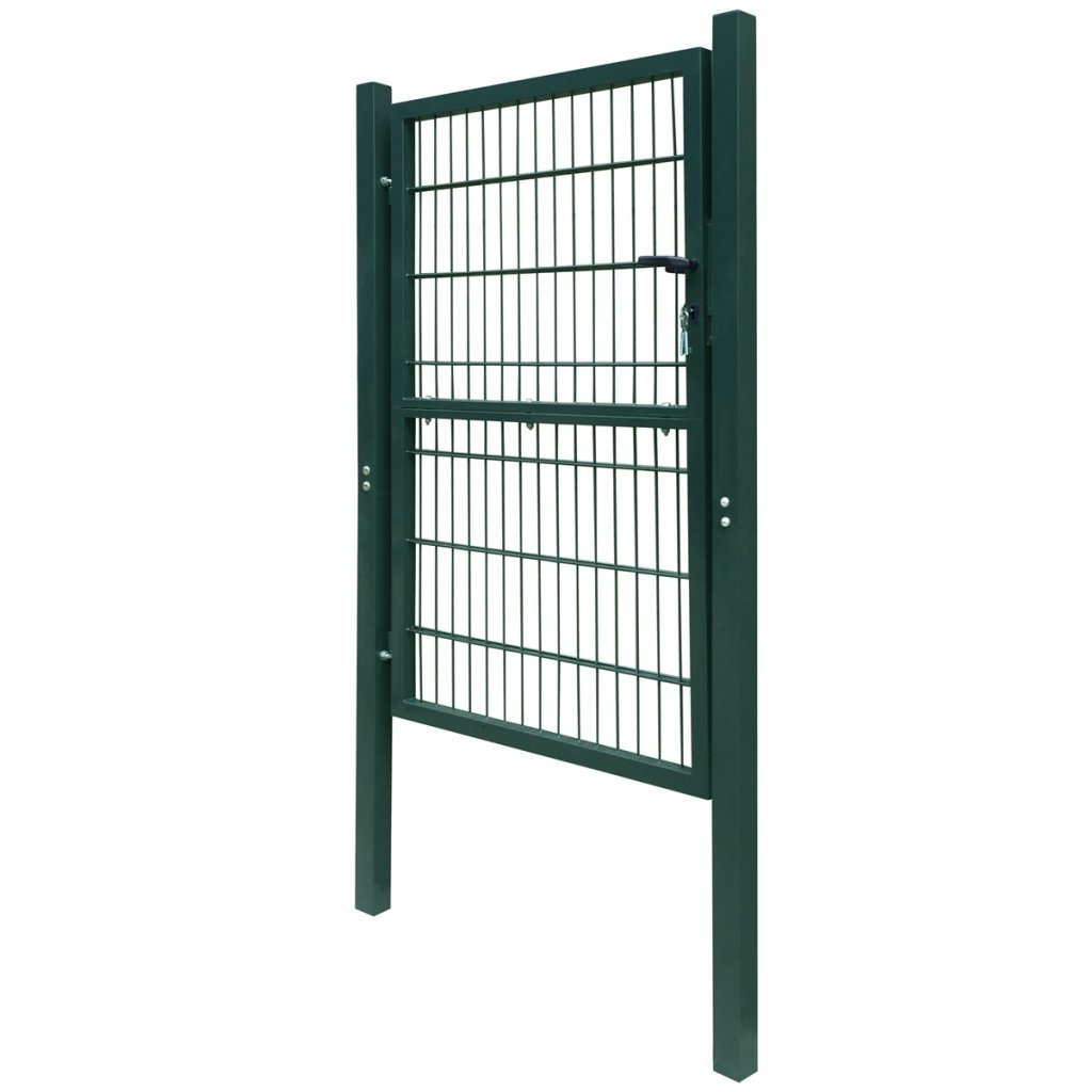 vidaXL 2D Metal Garden Fence Gate Yard Wire Mesh Single Door Green