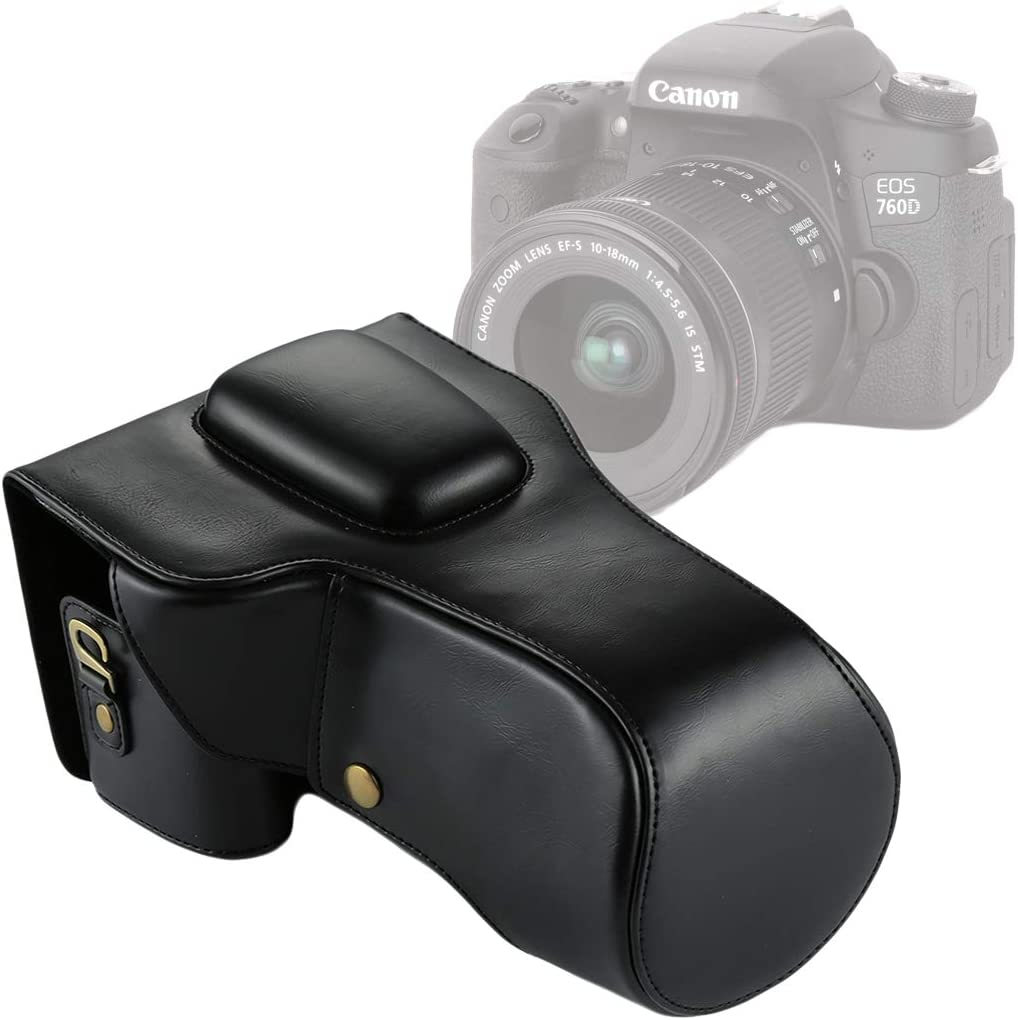 Color : Black 18-135mm Lens Durable Full Body Camera PU Leather Case Bag for Canon EOS 760D // 750D