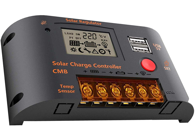 Controlador de carga solar, regulador inteligente de panel solar 10A / 20A / 26A con puerto USB dual, interfaz de pantalla que cambia automáticamente (CMB-2410)