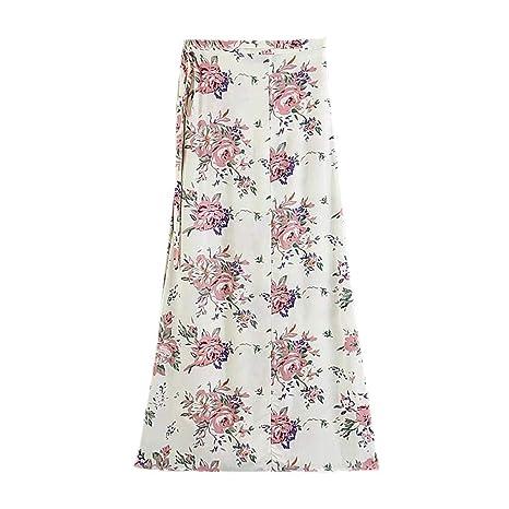 Finebo - Falda estampada floral para mujer, falda bohemia, cintura ...