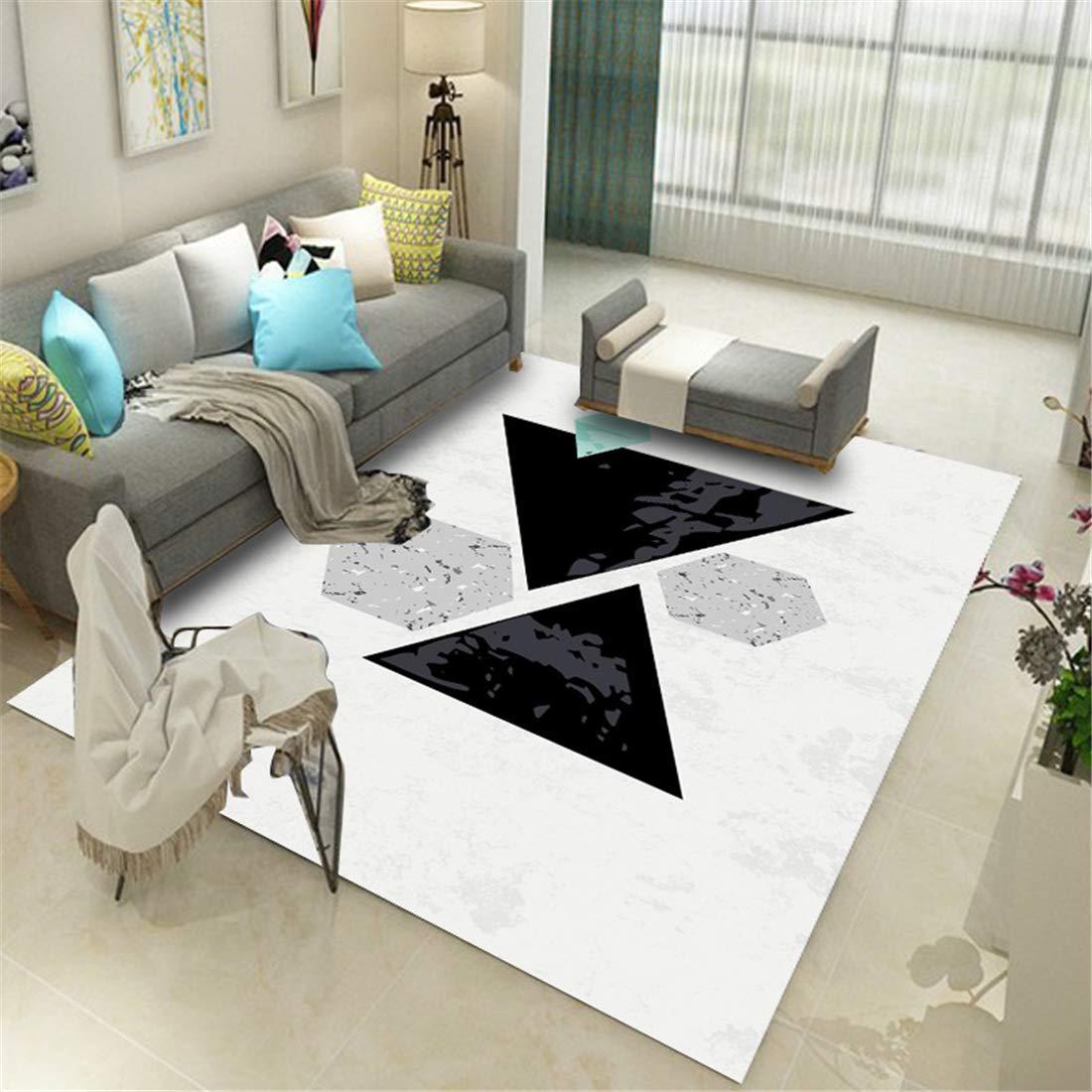 フロア マット ラバー 極厚 ラグマットテント マット 冷え160x230cmファッションシンプルでソフトで快適な3Dプリントカーペットのコーヒーテーブルの寝室のリビングルームのホームカーペット掃除機をかける材料幾何学的抽象化 B07RKW9KL2 白 160x230cm