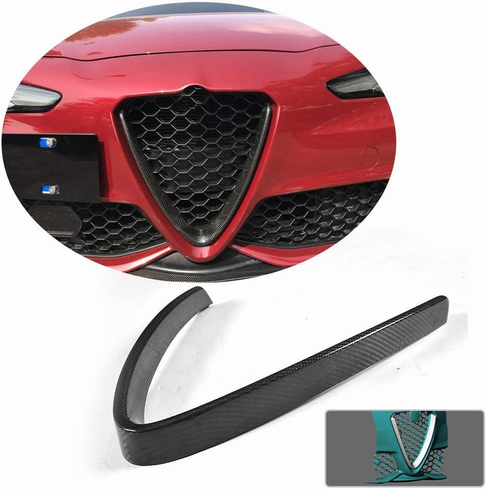 MCARCAR KIT Front Grille Outline fits Alfa Romeo Giulia Sport & Quadrifoglio Sedan 2015-2018 Factory 100% Real Dry Carbon Fiber Bumper Grill Trim V Shape Frame Decoration Emblem Sticker