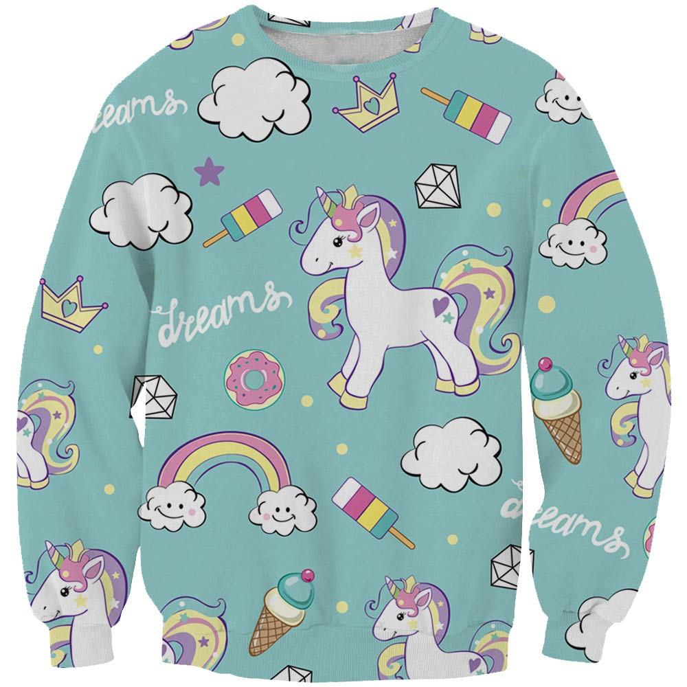KIDVOVOU Crewneck Cute Sweatshirts Kids Unicorn Print Pullover Hoodies Hooded