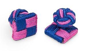 Sebastien Grey Square Silk Knot Cuff Link (Pink & Blue Square Ball)
