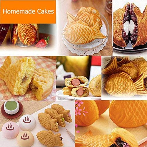 Home Non-Stick Taiyaki Fish-Shaped Bakeware Waffle Pan Maker 2 Molds Cake Baking Tools