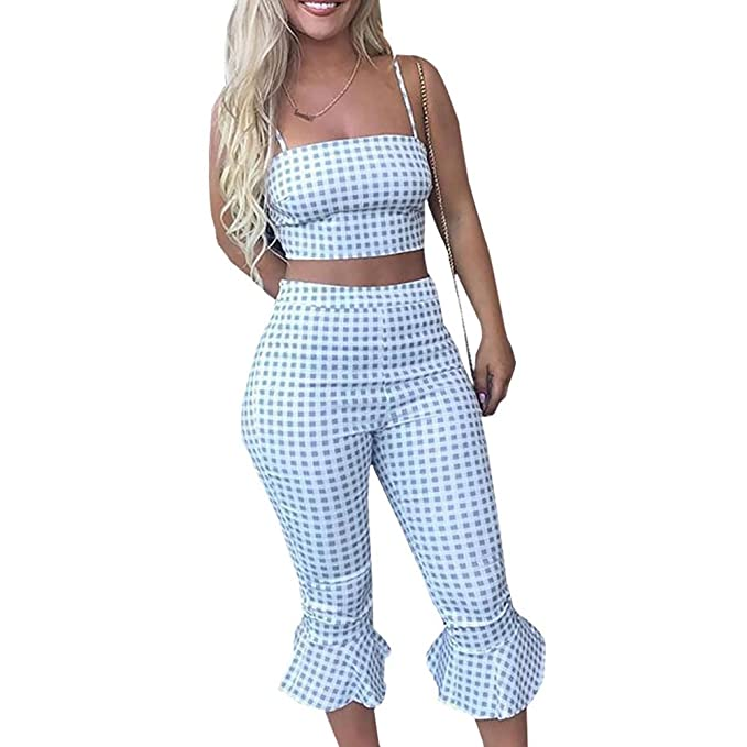 20a8f7b071d Women 2 Pieces Outfits Jumpsuits Color Block Patchwork Crop Tops and Bell Wide  Leg Pants(