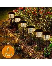 GolWof - Lámpara solar para jardín, 6 unidades, LED, luz blanca cálida, resistente al agua, IP44, para caminos de jardín