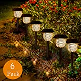 GolWof Solar Light Garden 6 Pieces LED Solar Light Warm White Solar Lantern Stake Waterproof IP44 Solar Lamp Stake Path Lighting for Outdoor Villa Lawn Walkwa