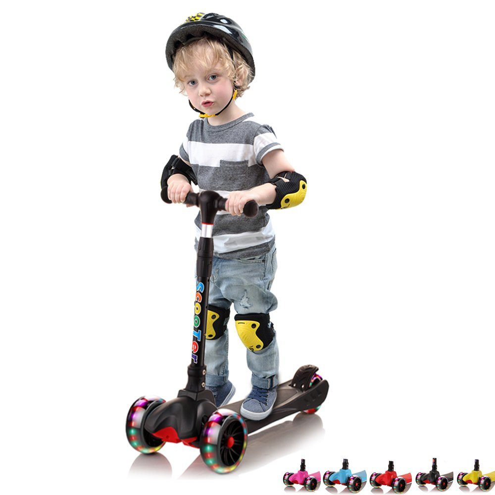 67i Toddler Kick Scooter for Kids Boys Girls, 3 Wheel Scooter Lean To Steer 4 Adjustable Height Glider Ride On PU Flashing Wheels for Children 3-12 Year Old Kids Scooter (Black)