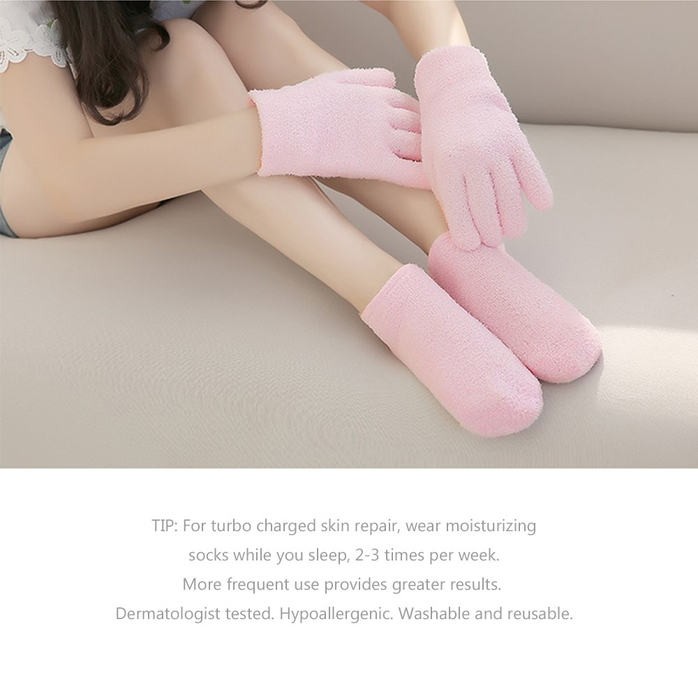 GADENT Gel Moisturizing Spa Gloves and Socks, Soft Cotton with Thermoplastic Gel Repair Cracked Dry Skin, Gel Lining Infused with Essential Oils and Vitamins Pink by GADENT (Image #4)