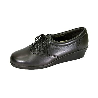 e4c09fd3b223 24 Hour Comfort Helga (2717) Women Extra Wide Width Leather Sneakers Black 8
