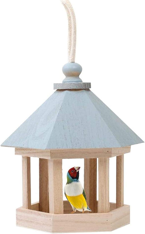 ZHXY Comedero para pájaros Colgante Alimentador de Mesa para pájaros Silvestres,Estación de alimentación de Semillas de Madera para pájaros Silvestres,Mesa Hexagonal de Madera para pájaros