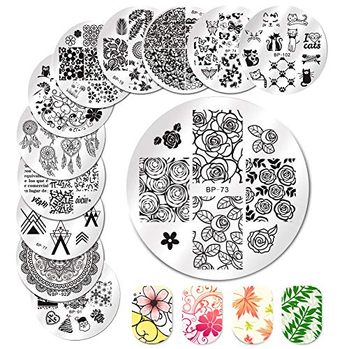 BORN PRETTY Nail Art Stamp Templates Stamping Image 12Pcs Round Flower Leaves Lace Cute Animal Christmas Stamp ()