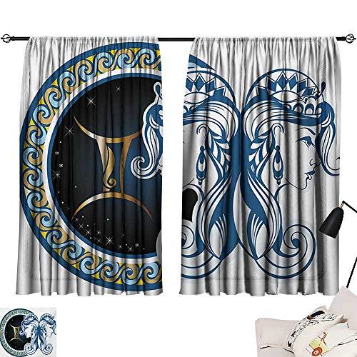 Davishouse Zodiac Simple Curtain Gemini Icon Motif with Back to Back Women Future Celestial Information Cosmos Theme Privacy Protection (Celestial Screen Fireplace)