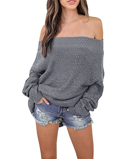 c84e35a895a Gobought Women s Off Shoulder Long Sleeve Loose Fit Knit Sweater Tops  Pullover Blouse